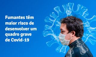 Fumantes têm maior risco de desenvolver um quadro grave de Covid-19 [homem de máscara envolto de uma nuvem de fumaça no formato do coronavírus]