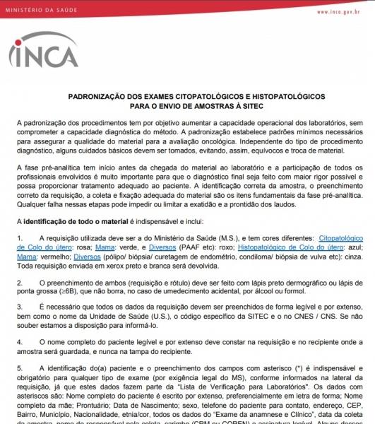 Padronização dos exames citopatológicos e histopatológicos para o envio de amostras à Sitec/INCA