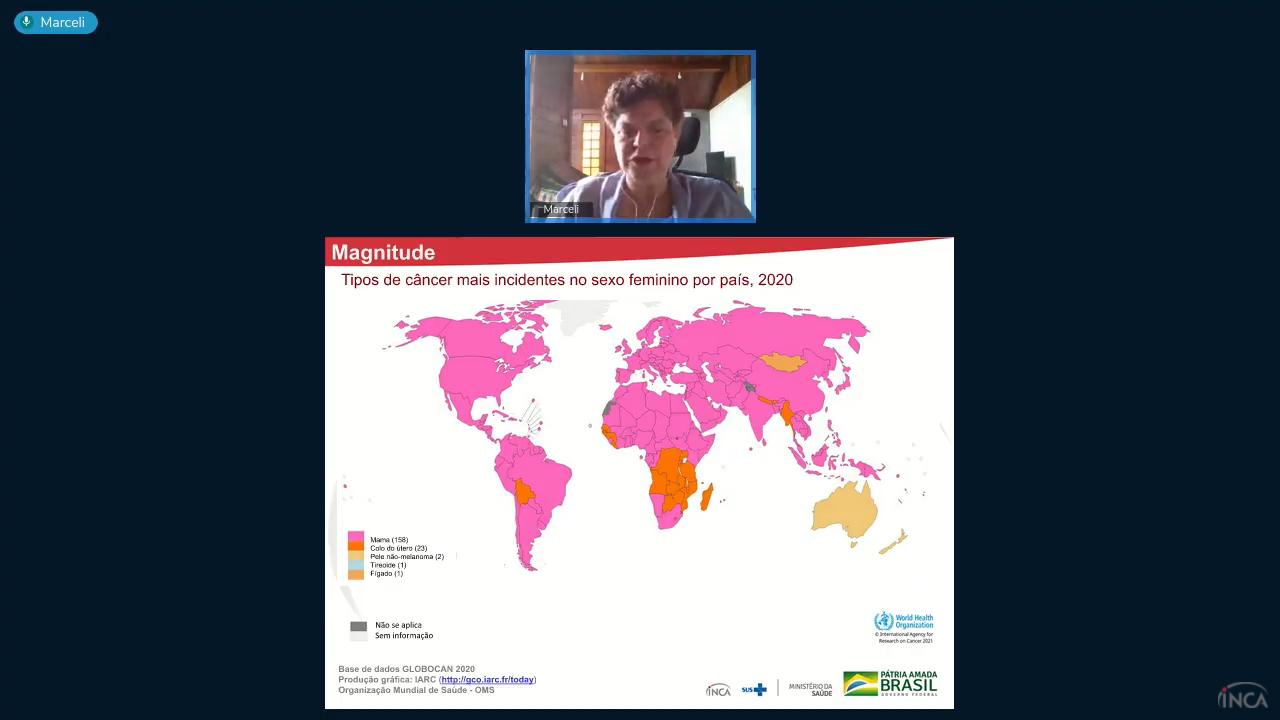 Técnica da Divisão de Vigilância, Marceli Santos, apresentou dados sobre incidência e mortalidade por câncer de mama