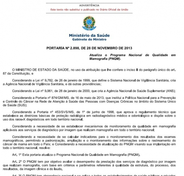 Imagem da portaria publicada no Diário Oficial da União