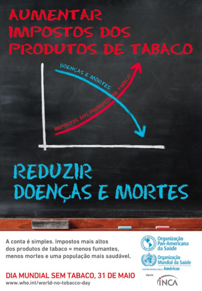 Cartaz com fundo preto no qual há um gráfico desenhado indicando o aumento dos impostos e a queda de doenças e mortes.