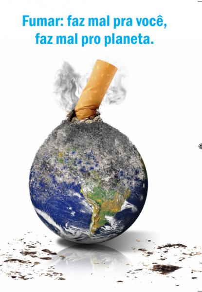 No fôlder há uma imagem do planeta Terra e um cigarro aceso enfiado no planeta com fumaça saindo.