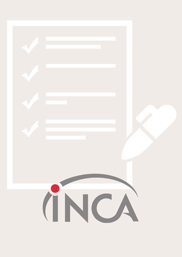 Uma ilustração apresenta uma folha de papel com algumas linhas de texto e marcações identificando supostos itens. Uma caneta repousa sobre a folha de papel e o logo do INCA estampado na parte inferior.