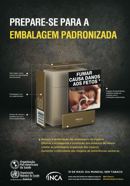 """Filipeta com título """"Prepare-se para a embalagem para a embalagem padronizada"""". Imagem de embalagem de cigarro com imagem de advertência de um bebê com sonda nasal (acompanhada dos dizeres """"fumar causa danos ao feto"""")."""