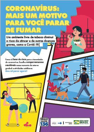 """Cartaz de ilustração colorida em formato de história em quadrinho com o título """"Coronavírus: mais um motivo para você parar de fumar"""". A peça traz três cenas."""