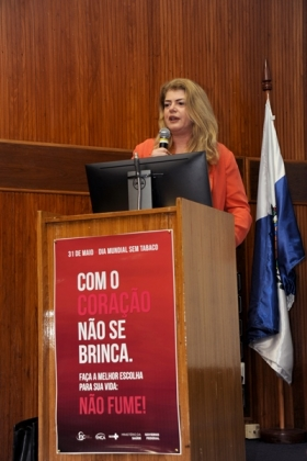 Durante o discurso, a diretora-geral do INCA, Ana Cristina Pinho, reforçou sobre a importância de eventos como o Dia Mundial sem Tabaco