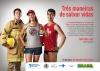 """Cartaz com três personagens: um bombeiro (à esquerda), uma jovem vestindo camiseta com a logo da Convenção-Quadro (centro) e um salva-vidas (à direita). Slogan """"Três maneiras de salvar vidas""""."""