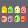 Diversas embalagens de sucos com cores e símbolos identificando cada um dos sabores