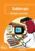 """Capa com o layout laranja e o seguinte título na parte superior: """"Radioterapia. Orientações aos pacientes"""". Na parte inferior esquerda, uma ilustração de uma médica segurando uma folha de papel e com computadores na sua frente."""