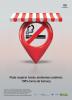""": No centro do cartaz tem a ilustração de um toldo listrado branco e vermelho, embaixo do toldo está o símbolo de proibido fumar dentro de um balão vermelho. Logo abaixo estão os dizeres """"Pode respirar fundo: ambientes coletivos 100% livres de fumaça"""". Na parte inferior da imagem estão as assinaturas de logo de governo."""