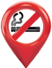 A imagem contém a ilustração com o símbolo de proibido fumar dentro de um balão vermelho.