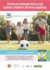 """Na parte superior do cartaz estão os dizeres """"praticar atividade física nos ajudou a manter um peso saudável"""". Abaixo mostra um homem, uma mulher e duas crianças correndo atrás de uma bola."""