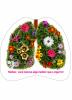 Folheto com fundo branco com a imagem de um pulmão florido. No folheto está escrito Mulher, você merece algo melhor que o cigarro.