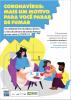 """Cartaz de ilustração cena familiar (mulher ao notebook, criança com gato de estimação e homem lendo) com o título """"Coronavírus: mais um motivo para você parar de fumar"""